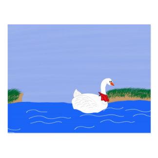Goose White in Lake Cartoon Art Postcard