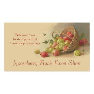 Gooseberries pears fruit sales business cards