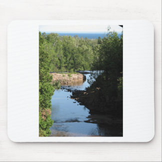 Gooseberry Falls - Stream running between trees Mouse Pad