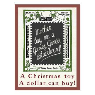 """GOOSEY GANDER"" CHALKBOARD VINTAGE CHRISTMAS TOY POSTCARD"