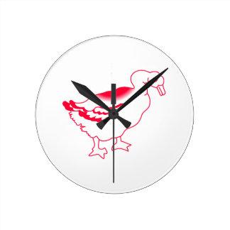 Goosey Gander Redwork Round Clock