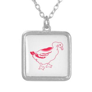 Goosey Gander Redwork Square Pendant Necklace