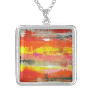 Goovy Red Orange Yellow Abstract No. 155 Silver Plated Necklace