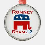 GOP 2012 DE ROMNEY RYAN ADORNO REDONDO PLATEADO