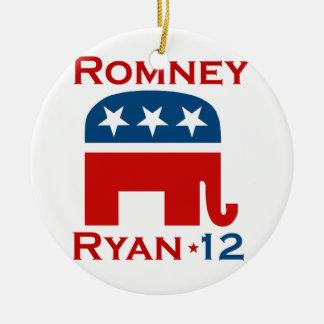 GOP 2012 DE ROMNEY RYAN ORNAMENTO PARA ARBOL DE NAVIDAD