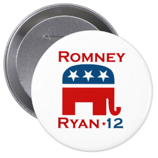 GOP 2012 DE ROMNEY RYAN PIN REDONDO 10 CM