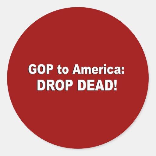 GOP a América - descenso muerto Etiqueta Redonda
