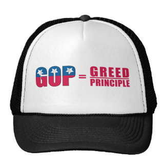 GOP = avaricia sobre el gorra del tono del princip