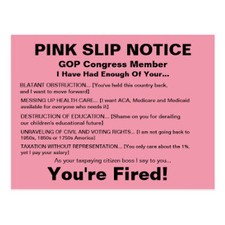 GOP Congress Pink Slip Notice Postcard