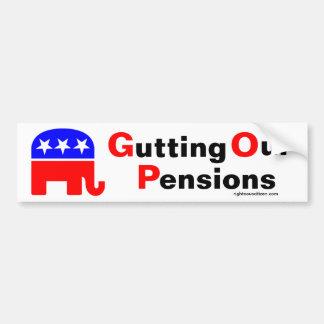 GOP: Destripamiento de nuestras pensiones Pegatina Para Auto