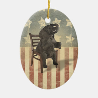 GOP Elephant Takes Over the Chair Funny Political Ceramic Ornament