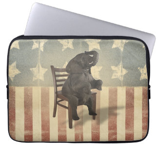GOP Elephant Takes Over the Chair Funny Political Computer Sleeve
