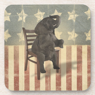 GOP Elephant Takes Over the Chair Funny Political Drink Coaster