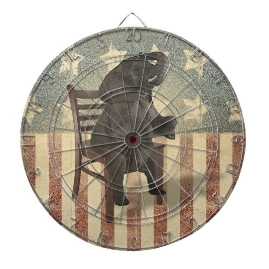 GOP Elephant Takes Over the Chair Funny Political Dartboard