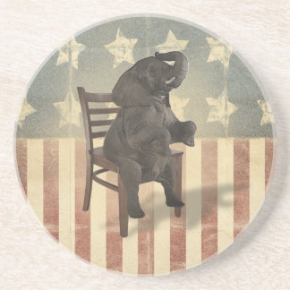 GOP Elephant Takes Over the Chair Funny Political Sandstone Coaster