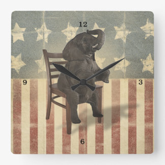 GOP Elephant Takes Over the Chair Funny Political Square Wall Clock