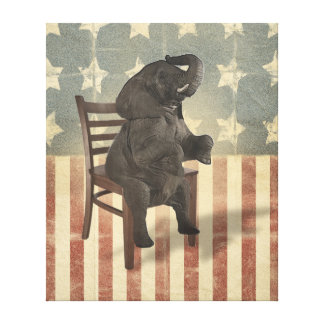 GOP Elephant Takes the Presidential Chair Funny Canvas Print