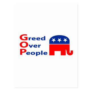 GOP - Greed Over People Postcard