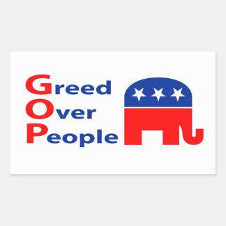 GOP - Greed Over People Rectangular Sticker
