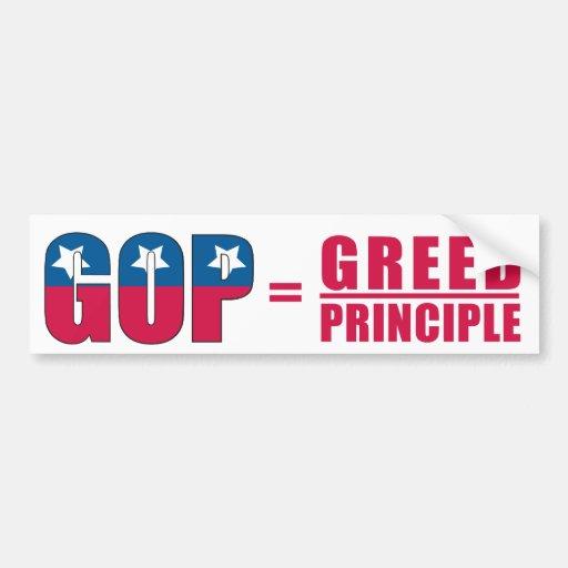 GOP =Greed sobre pegatina para el parachoques del  Pegatina De Parachoque