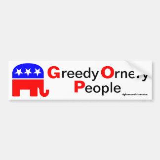 GOP: Greedy Ornery People Car Bumper Sticker