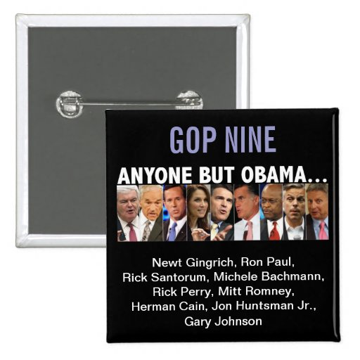 GOP Nine - 2012 Republican Primary Election Button