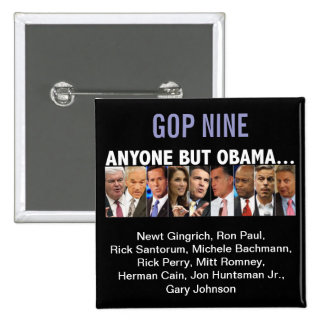 GOP Nine - 2012 Republican Primary Election Pinback Button