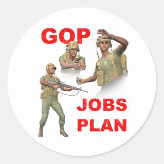 GOP, Republicans, Jobs Plan Classic Round Sticker