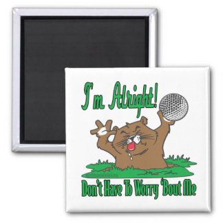 Gopher and the Golfball 2 Inch Square Magnet