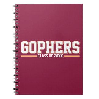 Gopher con año de la clase libro de apuntes con espiral