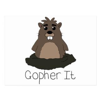 ¡Gopher él! (Vaya para él!) Postal