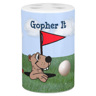 Gopher & Golf Toothbrush Holder & Soap Pump Set