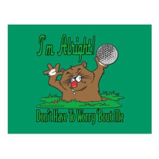 Gopher y la pelota de golf postales