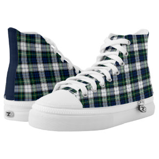 Gordon Clan Dress Tartan Blue and White Hi-Top