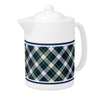 Gordon Clan Dress Tartan Blue and White Plaid Teapot