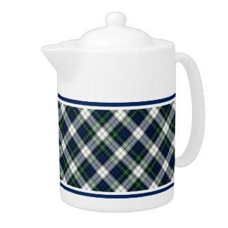 Gordon Clan Dress Tartan Blue and White Plaid Teapot