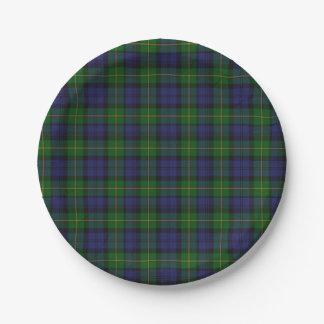 Gordon Clan Tartan Plaid Paper Plate
