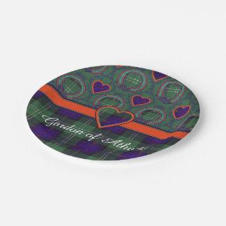 Gordon del tartán escocés de la falda escocesa de plato de papel de 7 pulgadas