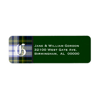 Gordon Dress Tartan Plaid Monogram Address Labels