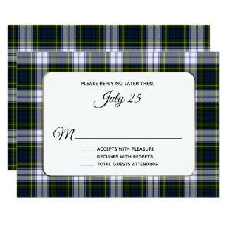 Gordon Dress Tartan Plaid Wedding RSVP Card