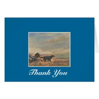 gordon setter antique print, Thank You Card