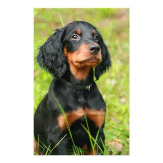 "Gordon Setter Attentive Black Dog Puppy 5.5"" X 8.5"" Flyer"