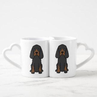 Gordon Setter Dog Cartoon Coffee Mug Set