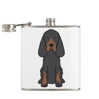 Gordon Setter Dog Cartoon Hip Flask