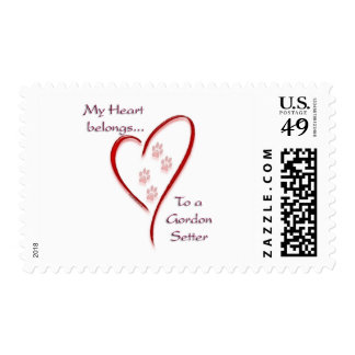 Gordon Setter Heart Belongs Stamp