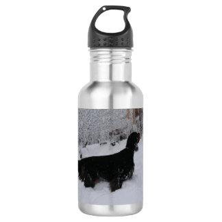 Gordon Setter in a Snowstorm Water Bottle
