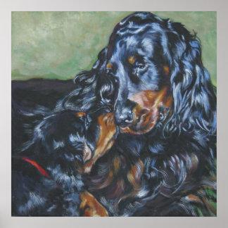 Gordon Setter mom and pup art print poster