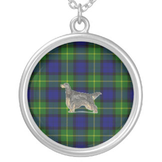 Gordon Setter on Gordon Tartan Necklace