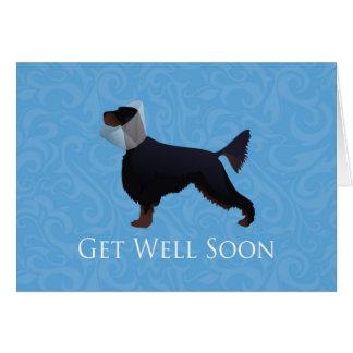 Gordon Setter Silhouette Get Well Soon Card