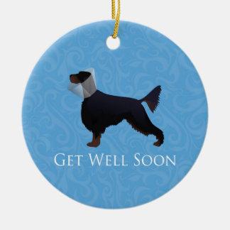 Gordon Setter Silhouette Get Well Soon Ceramic Ornament